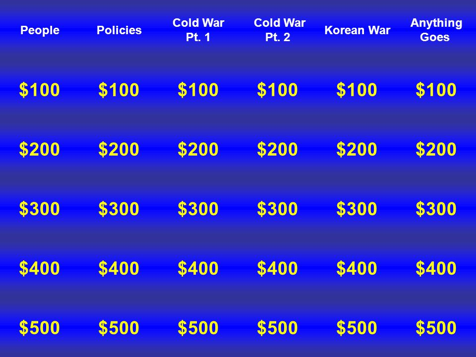 People $100 $200 $300 $500 $400 Policies $100 $200 $300 $500 $400 Cold War Pt.