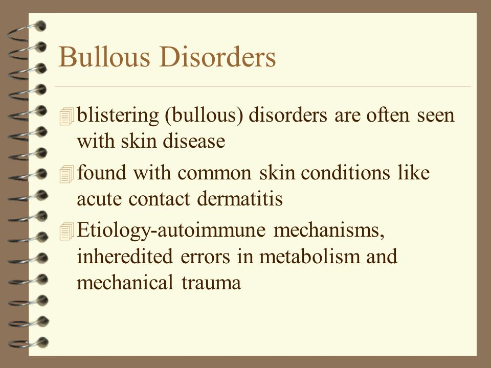 Bullous Disorders 4 blistering (bullous) disorders are often seen with skin disease 4 found with common skin conditions like acute contact dermatitis