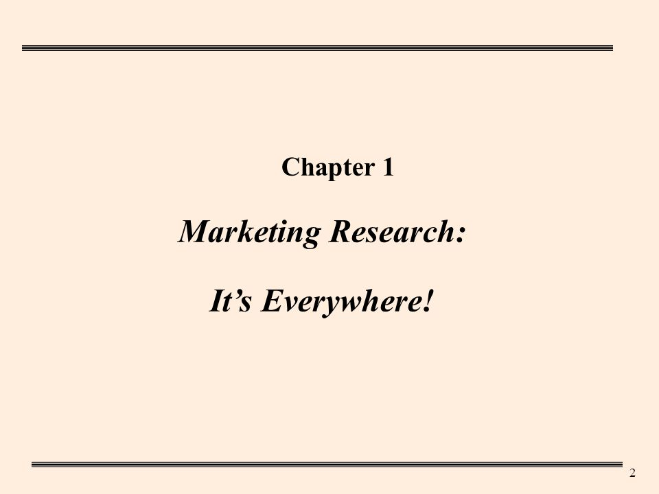 2 Chapter 1 Marketing Research: It's Everywhere!