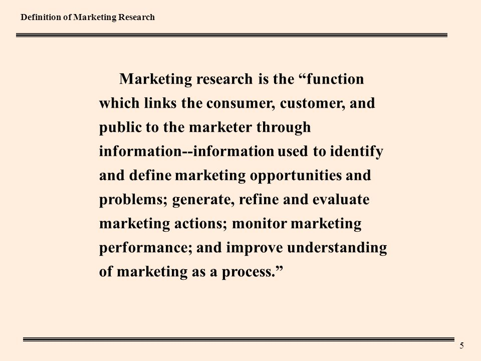 5 Definition of Marketing Research Marketing research is the function which links the consumer, customer, and public to the marketer through information--information used to identify and define marketing opportunities and problems; generate, refine and evaluate marketing actions; monitor marketing performance; and improve understanding of marketing as a process.