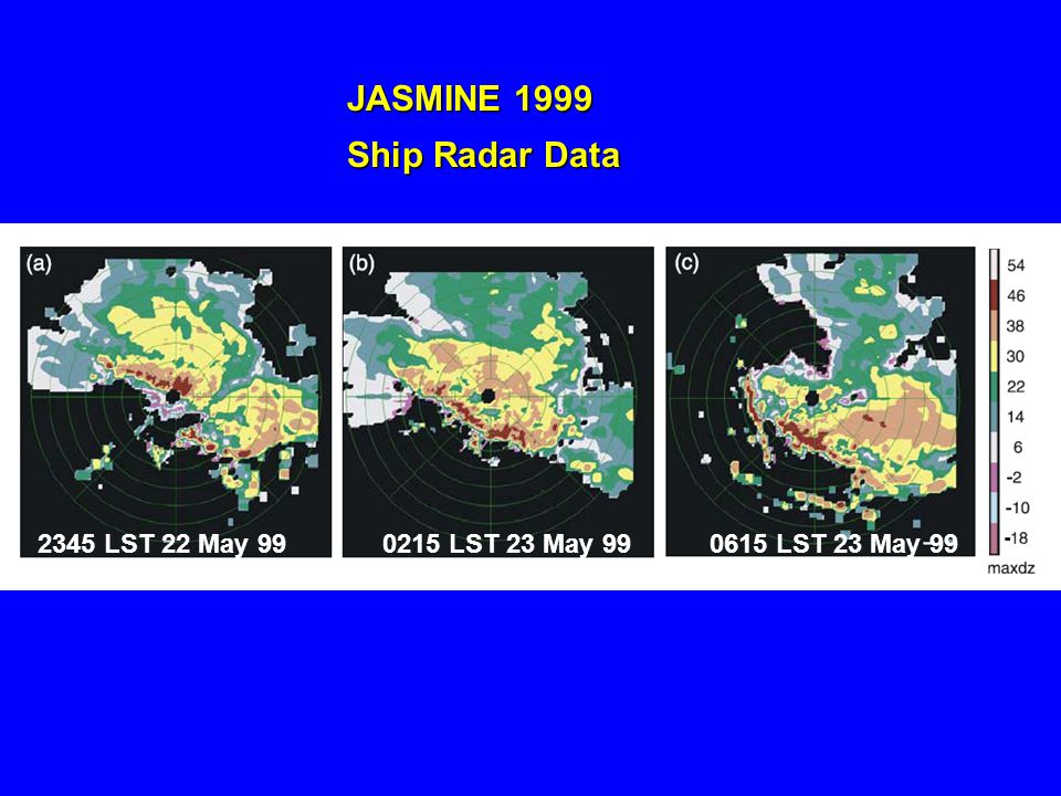 2345 LST 22 May 990215 LST 23 May 990615 LST 23 May 99 JASMINE 1999 Ship Radar Data