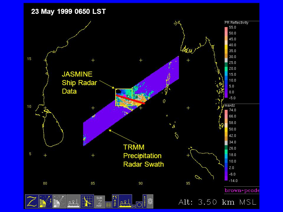 JASMINE Ship Radar Data TRMM Precipitation Radar Swath 23 May 1999 0650 LST