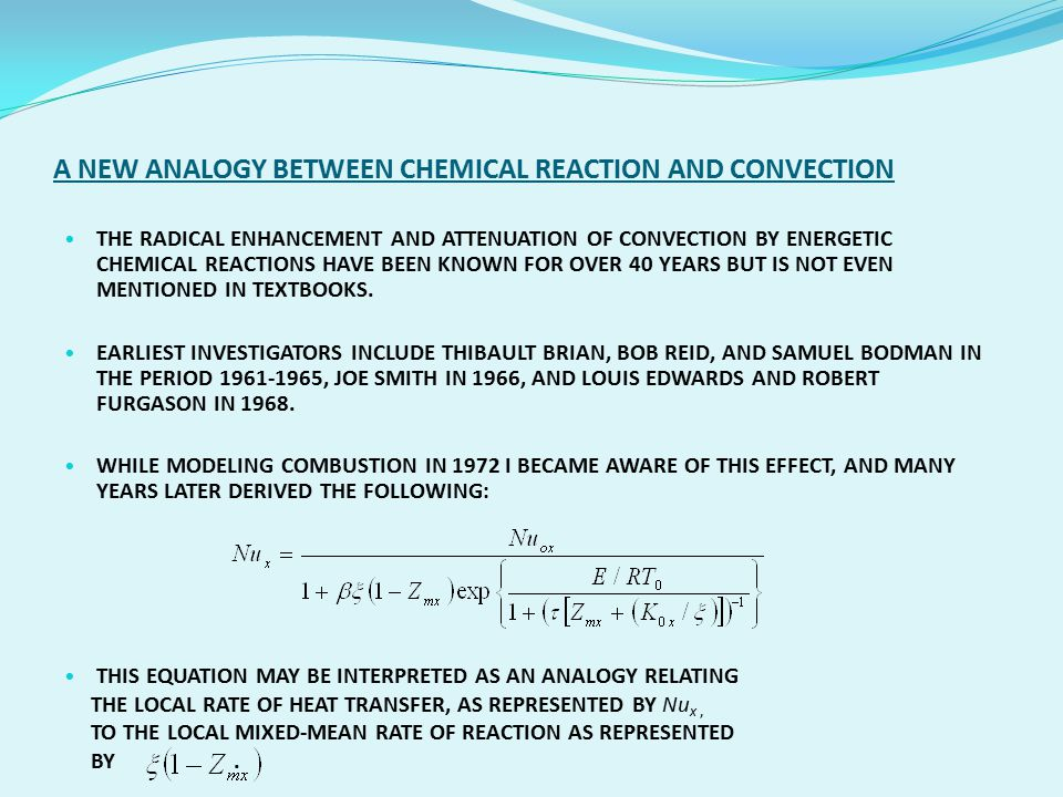 A NEW ANALOGY BETWEEN CHEMICAL REACTION AND CONVECTION THE RADICAL ENHANCEMENT AND ATTENUATION OF CONVECTION BY ENERGETIC CHEMICAL REACTIONS HAVE BEEN KNOWN FOR OVER 40 YEARS BUT IS NOT EVEN MENTIONED IN TEXTBOOKS.