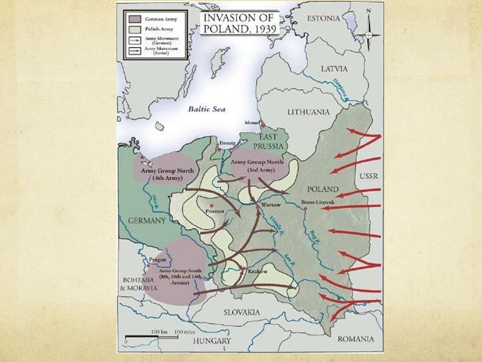 """Sept. 1, 1939: Germany attacks Poland Begins Blitzkrieg ( """" lightning """" warfare with air cover, paratroopers, tanks &ground forces )"""