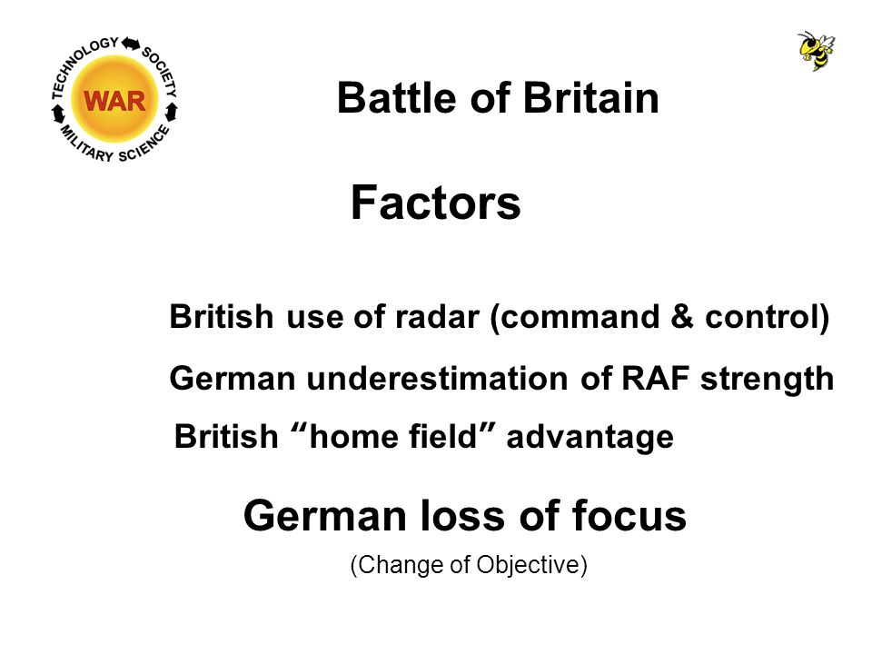 Battle of Britain Factors British use of radar (command & control) German underestimation of RAF strength Fighting close to home airfields Closer to the fight, more combat time British home field advantage RAF pilots shot down had a good chance of returning to the fight