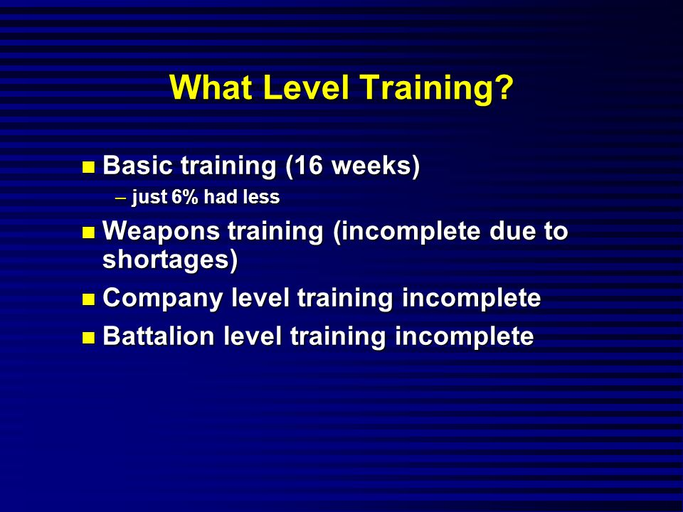 What Level Training.
