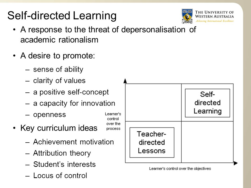 Self-directed Learning A response to the threat of depersonalisation of academic rationalism A desire to promote: –sense of ability –clarity of values –a positive self-concept –a capacity for innovation –openness Key curriculum ideas –Achievement motivation –Attribution theory –Student's interests –Locus of control