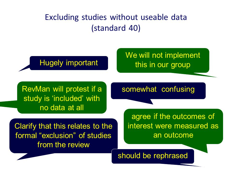 Excluding studies without useable data (standard 40) Hugely important Clarify that this relates to the formal exclusion of studies from the review We will not implement this in our group RevMan will protest if a study is 'included' with no data at all agree if the outcomes of interest were measured as an outcome somewhat confusing should be rephrased