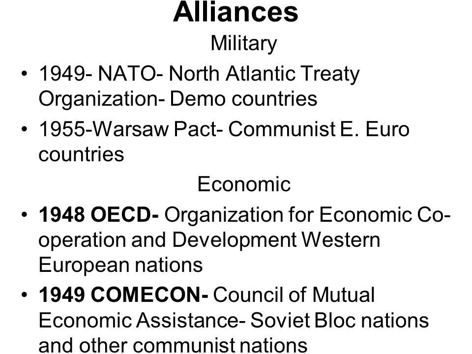 Alliances Military 1949- NATO- North Atlantic Treaty Organization- Demo countries 1955-Warsaw Pact- Communist E.