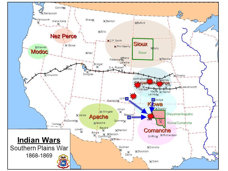 Indian Wars Bozman Trail & Hancock's War 1866-1868 Cheyenne/Arapahoe Nez Perce Kiowa Apache Comanche Sioux Modoc Modoc Colville Walla Steilacoom Vancouver Klamath Churchill Halleck Douglas Bridger Fetterman Reno Laramie D.A.