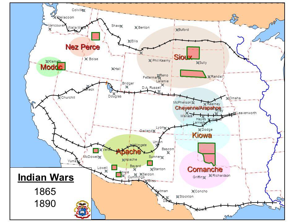 Nez Perce Modoc Modoc Indian Wars (North West) Modoc War 1872-73 Nez Perce War 1877 Cheyenne/Arapaho Kiowa/Comanche Sioux Sioux Colville Walla Steilacoom Vancouver Klamath Churchill Halleck Douglas Bridger Laramie D.A.