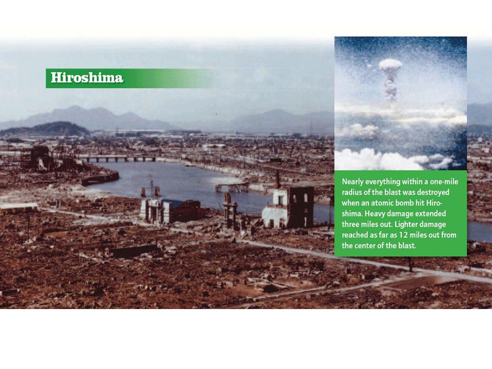 Hiroshima – August 6, 1945 70,000 killed immediately. 70,000 killed immediately. 48,000 buildings destroyed. 48,000 buildings destroyed. 100,000s died