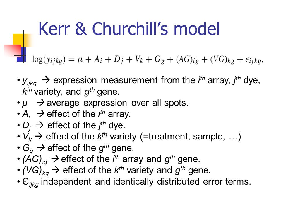 Kerr & Churchill's model y ijkg  expression measurement from the i th array, j th dye, k th variety, and g th gene. μ  average expression over all s