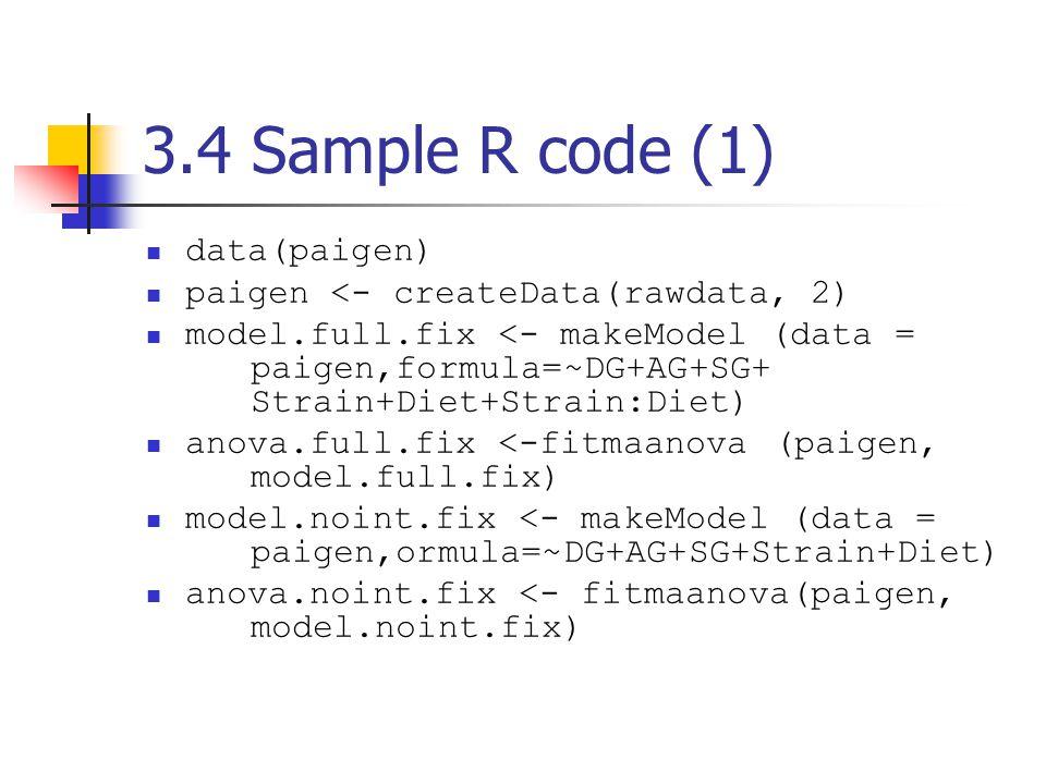 3.4 Sample R code (1) data(paigen) paigen <- createData(rawdata, 2) model.full.fix <- makeModel (data = paigen,formula=~DG+AG+SG+ Strain+Diet+Strain:Diet) anova.full.fix <-fitmaanova (paigen, model.full.fix) model.noint.fix <- makeModel (data = paigen,ormula=~DG+AG+SG+Strain+Diet) anova.noint.fix <- fitmaanova(paigen, model.noint.fix)