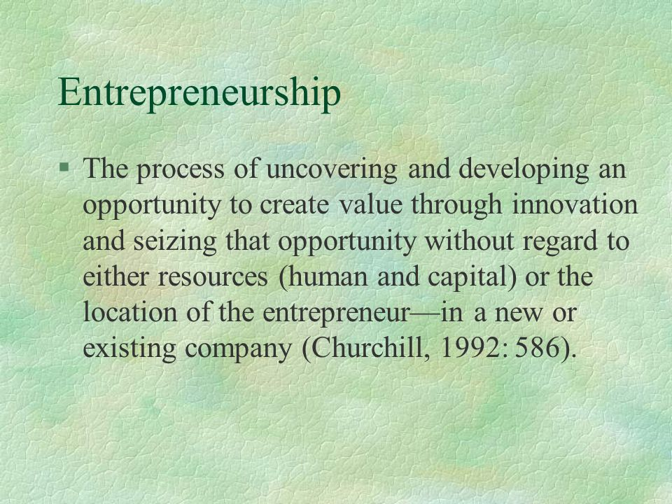 Entrepreneurship Characteristics §Commercial leanings §Lack of structure/self-control §Visionary tendencies.