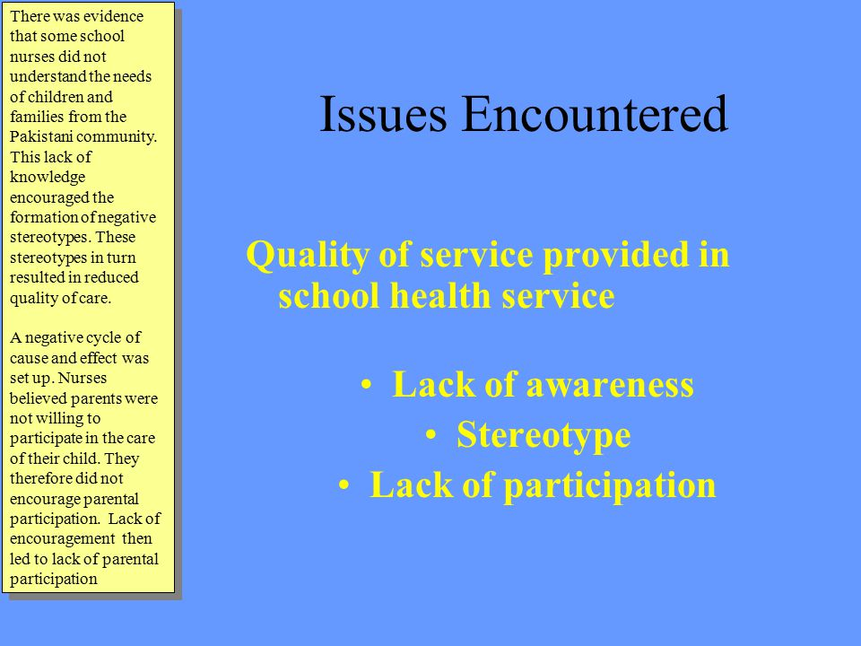 Issues Encountered Quality of service provided in school health service Lack of awareness Stereotype Lack of participation There was evidence that some school nurses did not understand the needs of children and families from the Pakistani community.