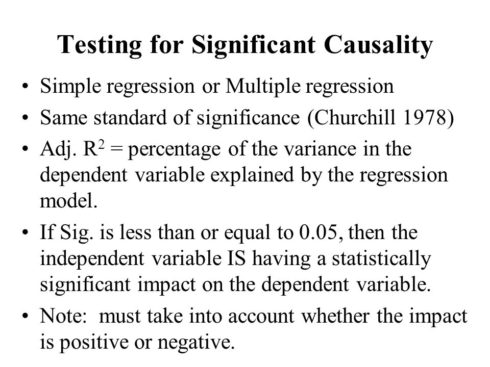 Testing for Significant Causality Simple regression or Multiple regression Same standard of significance (Churchill 1978) Adj. R 2 = percentage of the