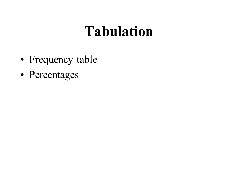 Tabulation Frequency table Percentages