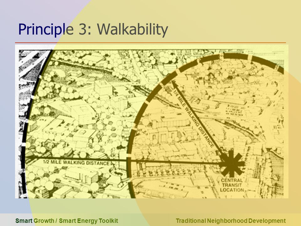 Smart Growth / Smart Energy Toolkit Traditional Neighborhood Development Principle 3: Walkability can you find the pedestrian?