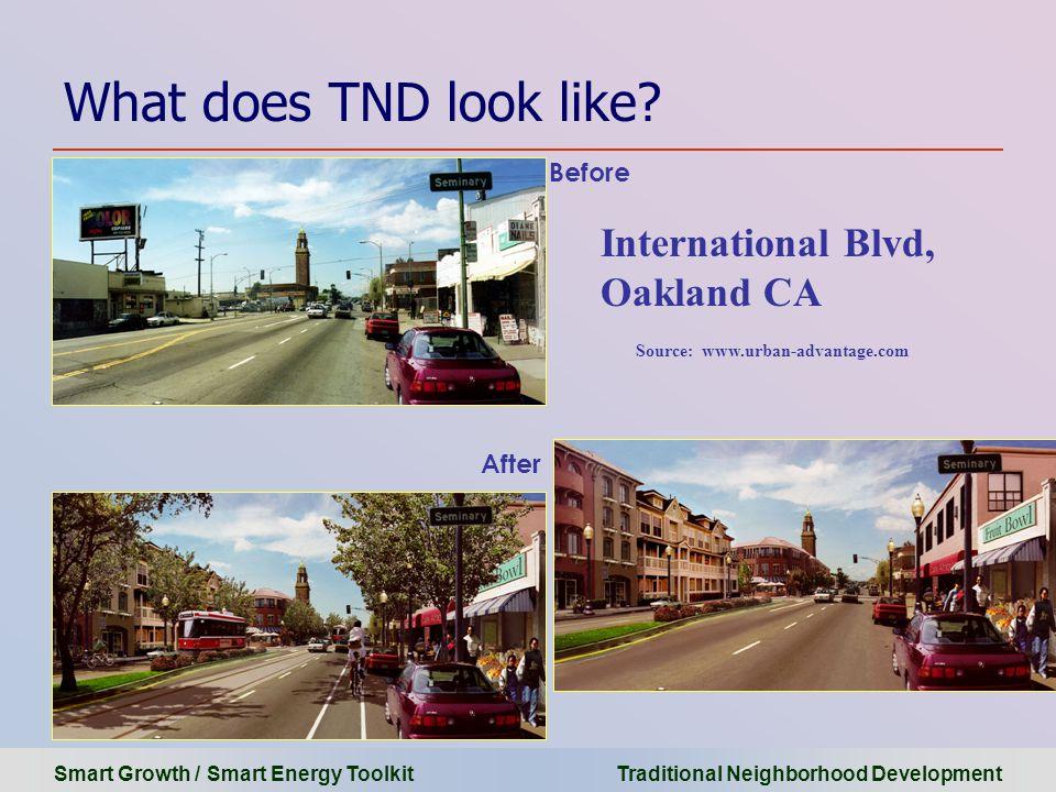 Smart Growth / Smart Energy Toolkit Traditional Neighborhood Development What does TND look like? Source: www.urban-advantage.com International Blvd,