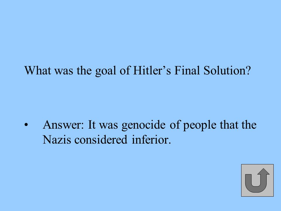 What was the goal of Hitler's Final Solution.