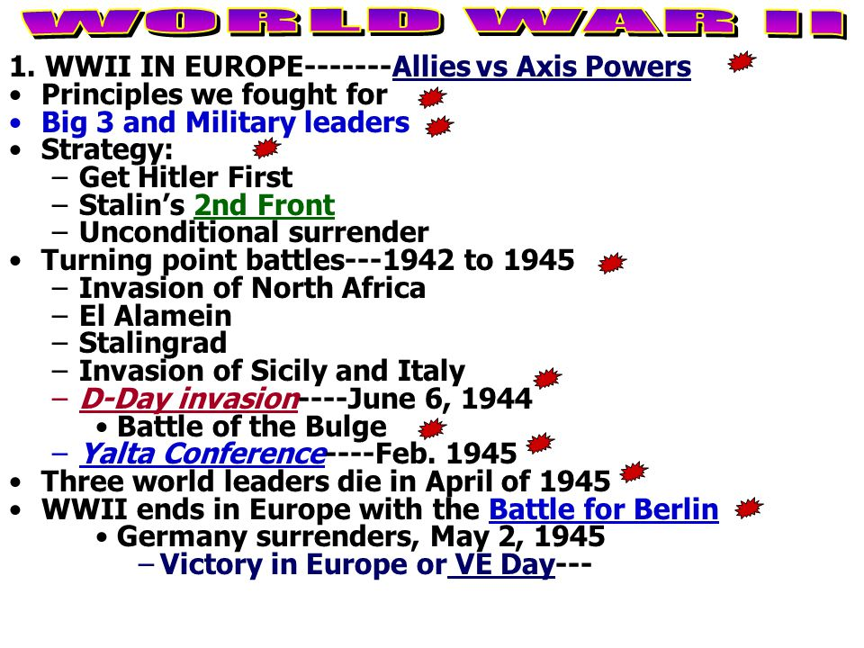 1. WWII IN EUROPE-------Allies vs Axis Powers Principles we fought for Big 3 and Military leaders Strategy: –Get Hitler First –Stalin's 2nd Front –Unc