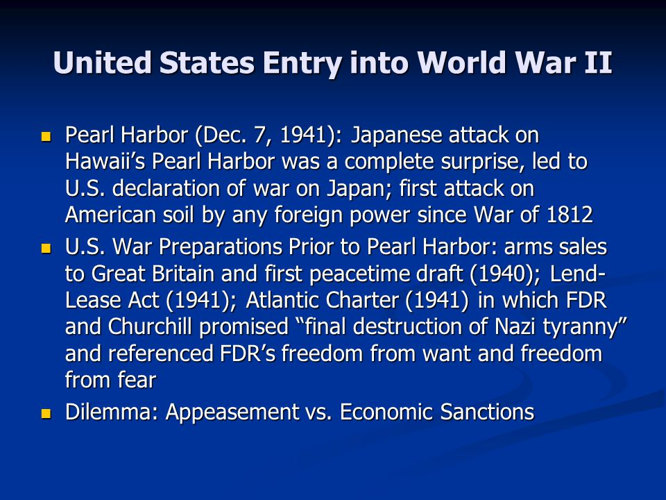 United States Entry into World War II Pearl Harbor (Dec.