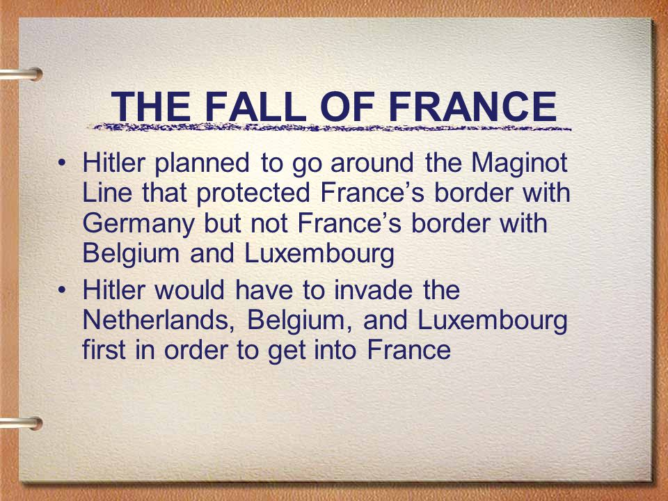 THE FALL OF FRANCE Hitler planned to go around the Maginot Line that protected France's border with Germany but not France's border with Belgium and Luxembourg Hitler would have to invade the Netherlands, Belgium, and Luxembourg first in order to get into France