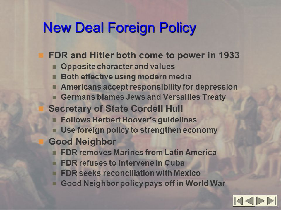New Deal Foreign Policy FDR and Hitler both come to power in 1933 Opposite character and values Both effective using modern media Americans accept res