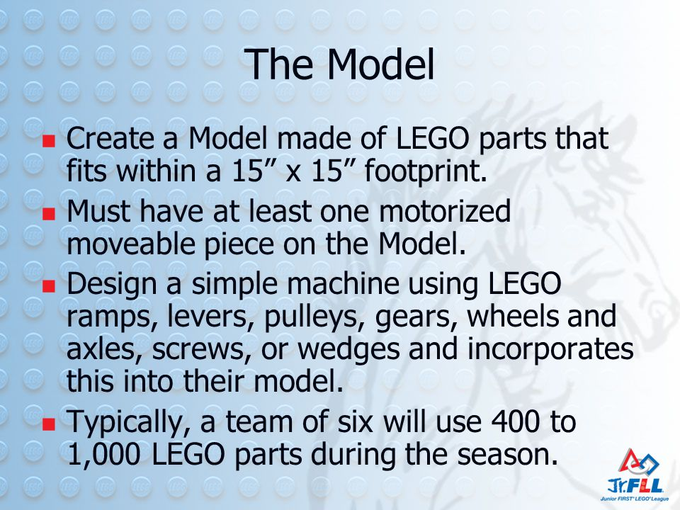 The Model Create a Model made of LEGO parts that fits within a 15 x 15 footprint.