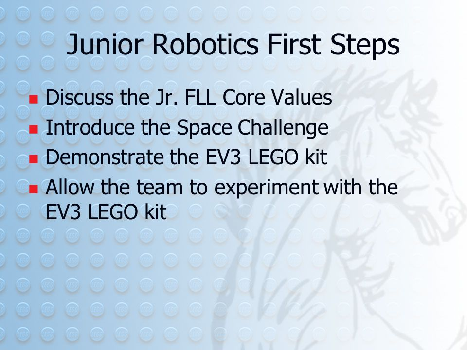 Junior Robotics First Steps Discuss the Jr.