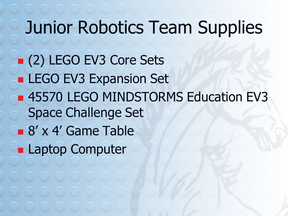Junior Robotics Team Supplies (2) LEGO EV3 Core Sets LEGO EV3 Expansion Set 45570 LEGO MINDSTORMS Education EV3 Space Challenge Set 8' x 4' Game Table Laptop Computer