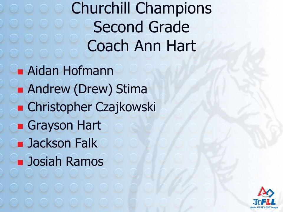 Churchill Champions Second Grade Coach Ann Hart Aidan Hofmann Andrew (Drew) Stima Christopher Czajkowski Grayson Hart Jackson Falk Josiah Ramos