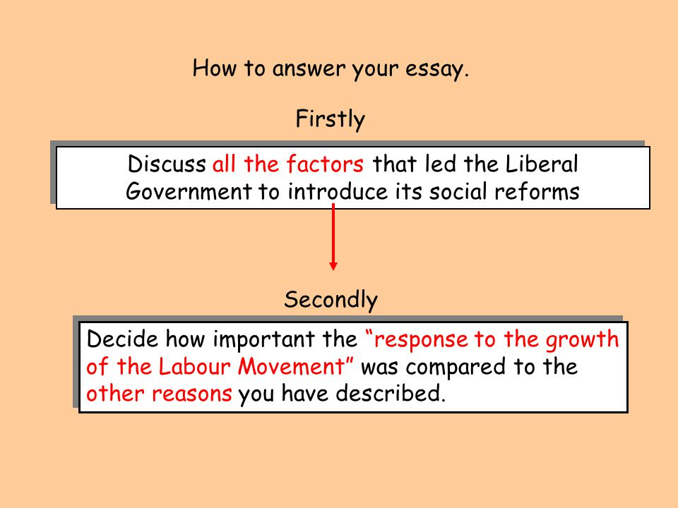 How to answer your essay. Discuss all the factors that led the Liberal Government to introduce its social reforms Firstly Secondly Decide how importan