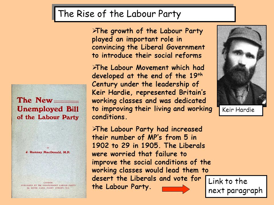 The Rise of the Labour Party  The growth of the Labour Party played an important role in convincing the Liberal Government to introduce their social