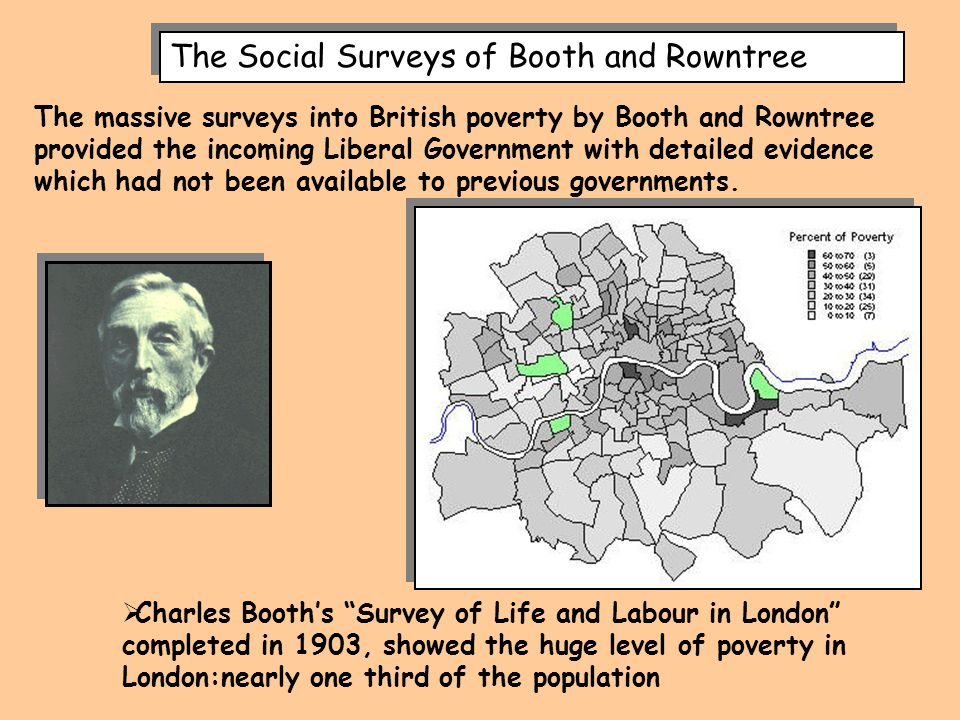 """The Social Surveys of Booth and Rowntree  Charles Booth's """"Survey of Life and Labour in London"""" completed in 1903, showed the huge level of poverty i"""