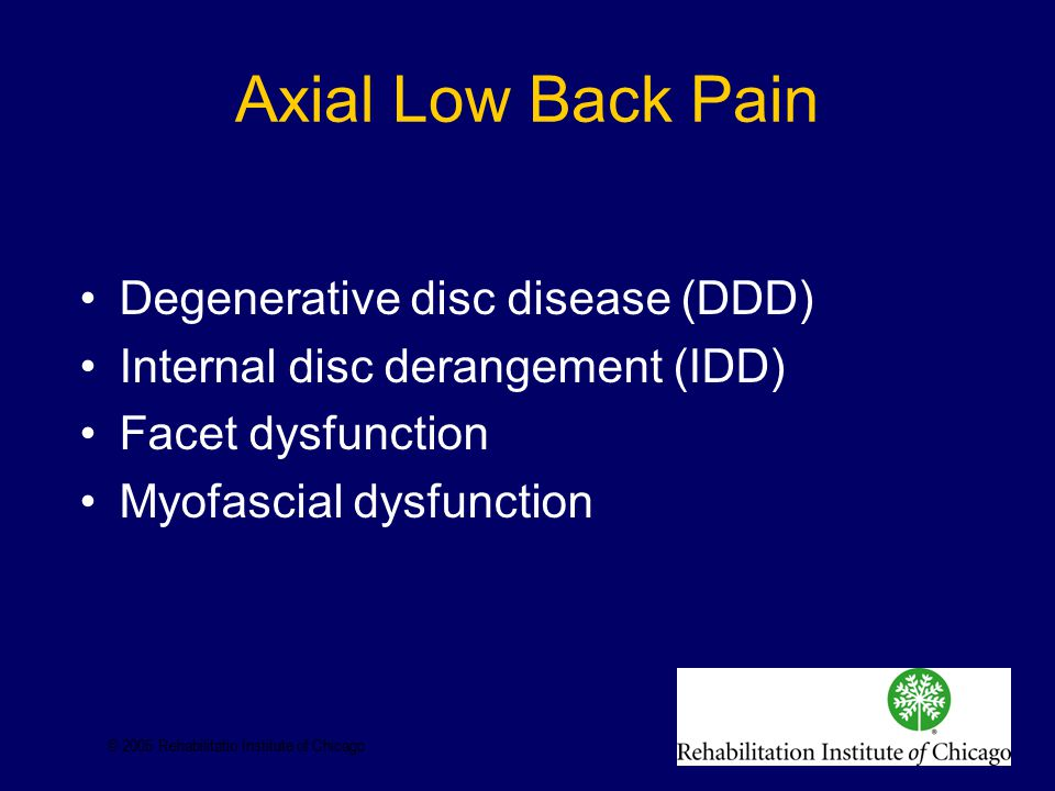 Axial Low Back Pain Degenerative disc disease (DDD) Internal disc derangement (IDD) Facet dysfunction Myofascial dysfunction © 2005 Rehabilitatio Institute of Chicago
