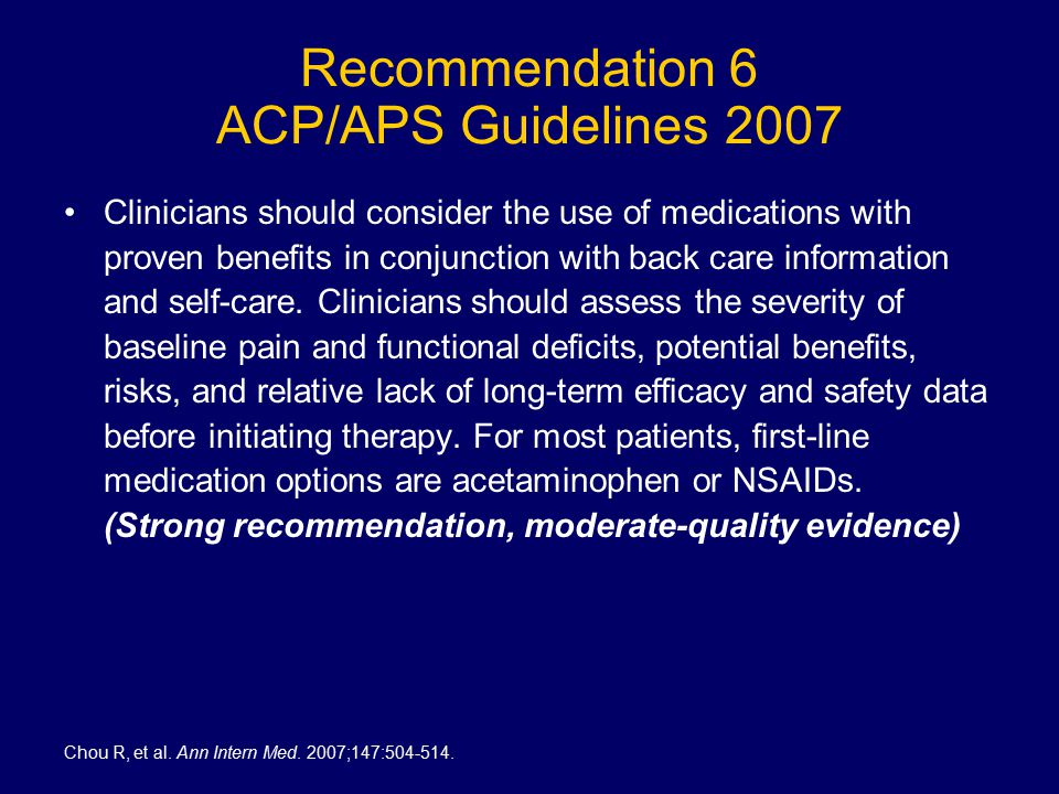 Recommendation 6 ACP/APS Guidelines 2007 Clinicians should consider the use of medications with proven benefits in conjunction with back care information and self-care.