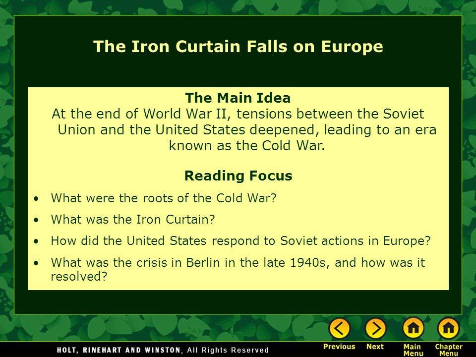 Roots of the Cold War Allies during the war, but not truly friends Soviets wanted British and Americans to open a second European front earlier in the war.