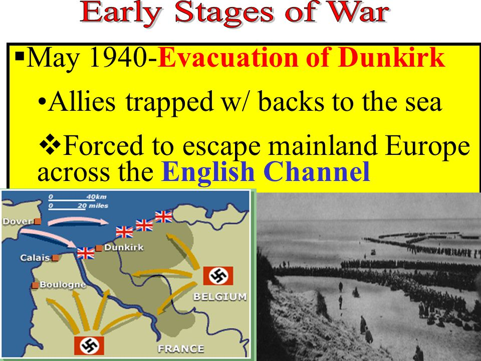  May 1940-Evacuation of Dunkirk Allies trapped w/ backs to the sea  Forced to escape mainland Europe across the English Channel