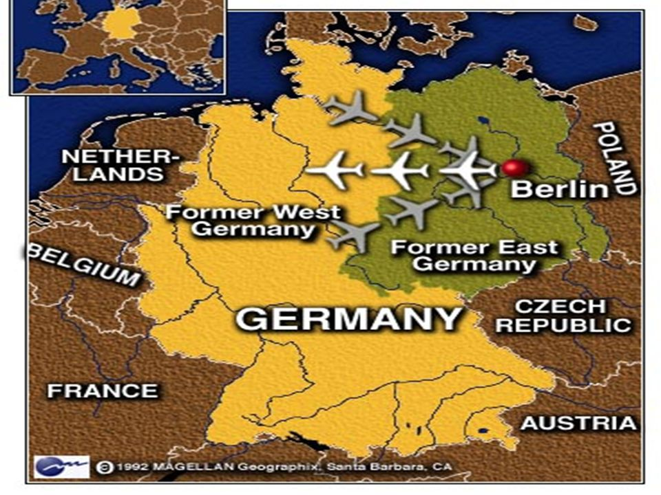 Berlin Airlift What's an airlift? –a system of carrying supplies into West Berlin by plane –Day and night, British and American pilots flew in tons of