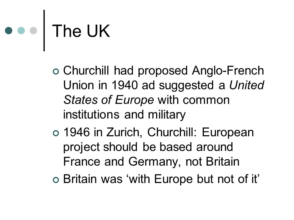 The UK Churchill had proposed Anglo-French Union in 1940 ad suggested a United States of Europe with common institutions and military 1946 in Zurich,