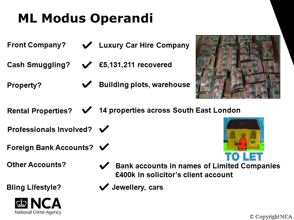 ML Modus Operandi © Copyright NCA Cash Smuggling. Property.