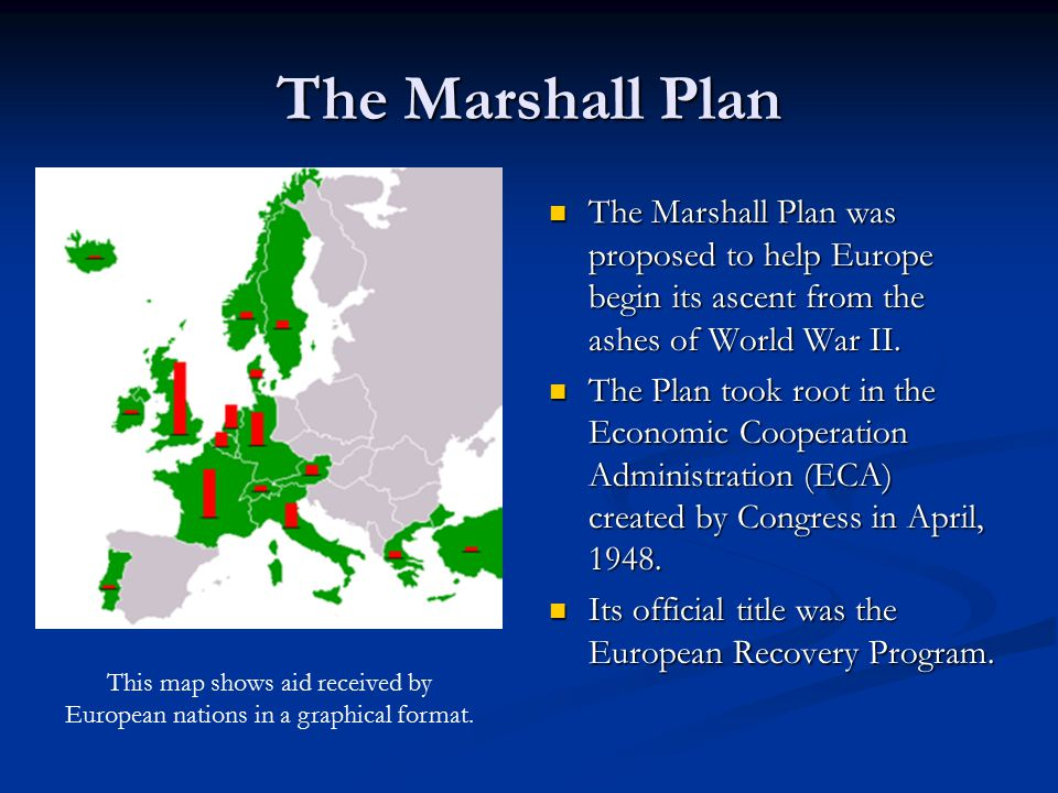 The Marshall Plan The Marshall Plan was proposed to help Europe begin its ascent from the ashes of World War II.