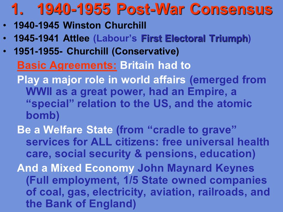 post war consensus britain