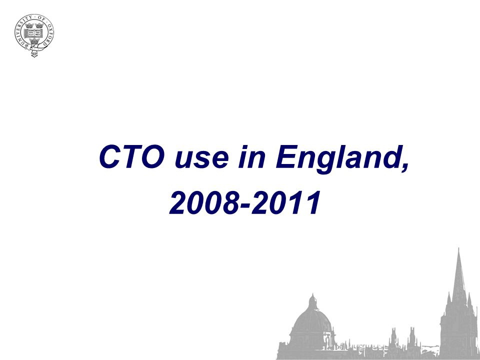 CTO use in England, 2008-2011