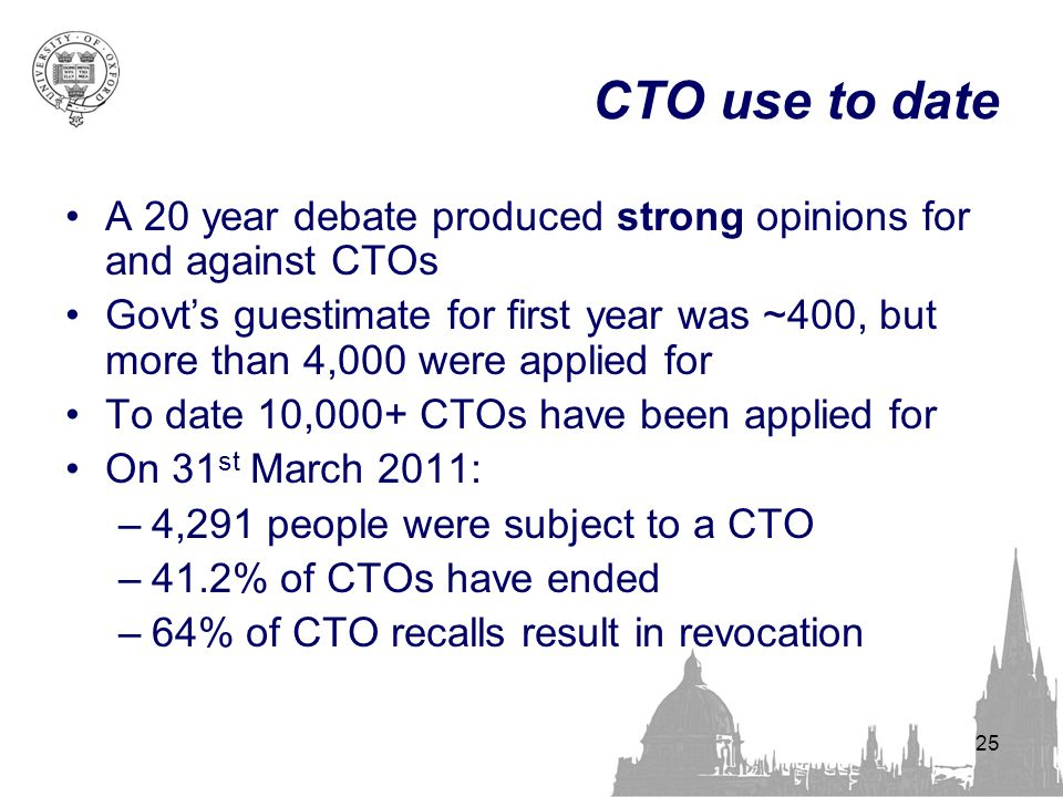 CTO use to date A 20 year debate produced strong opinions for and against CTOs Govt's guestimate for first year was ~400, but more than 4,000 were app