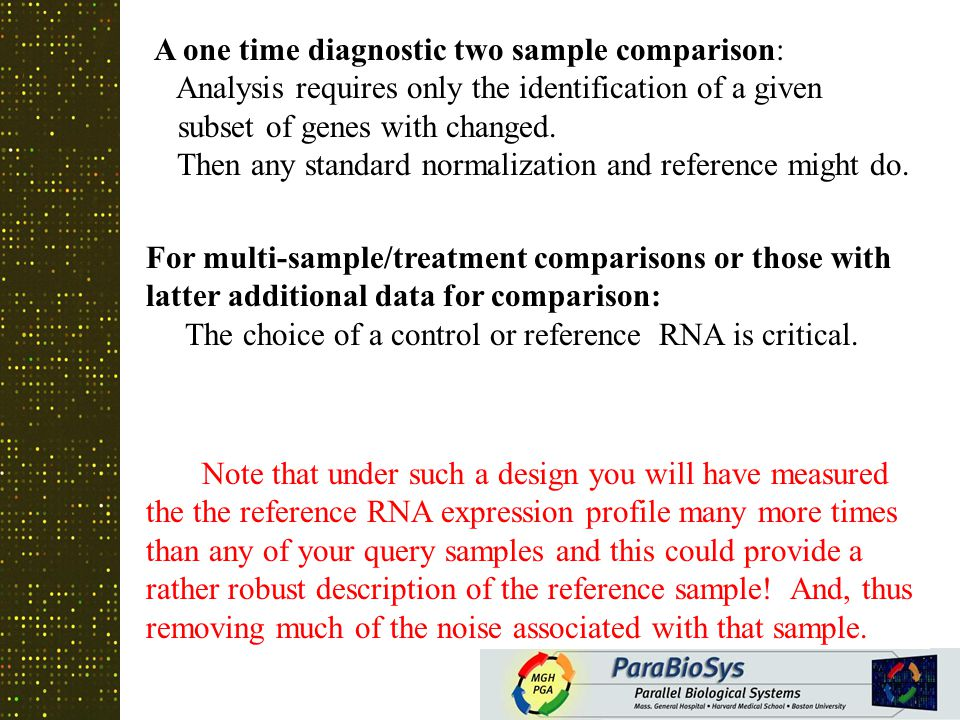 Reference or Control Comparative Samples In the simple cases the reference RNA is just from the untreated sample.