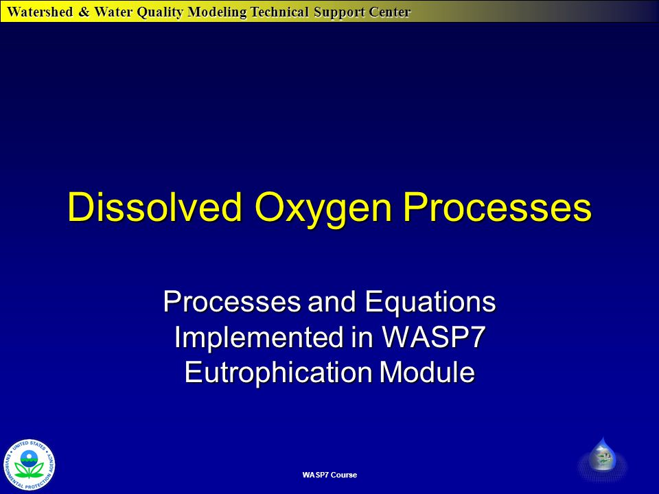 Watershed & Water Quality Modeling Technical Support Center WASP7 Course Dissolved Oxygen Processes Processes and Equations Implemented in WASP7 Eutrophication Module
