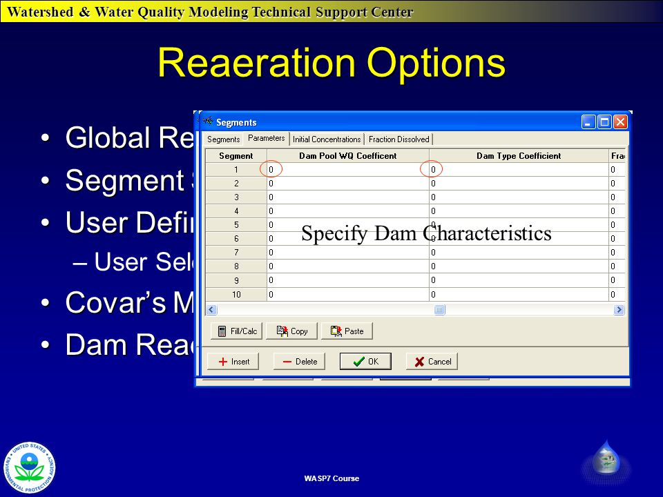 Watershed & Water Quality Modeling Technical Support Center WASP7 Course Reaeration Options Global ReaerationGlobal Reaeration Segment Specific ReaerationSegment Specific Reaeration User DefinedUser Defined –User Selections Covar's MethodCovar's Method Dam ReaerationDam Reaeration This options sets the rate for the whole networkUser Specifies which EquationSetting to Zero WASP Selects This Sets Rate for Segment Specify Dam Characteristics